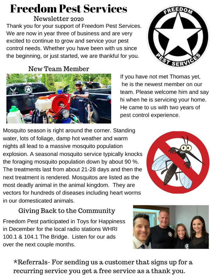 Freedom Pest Services Newsletter 2020
